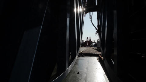 Laying of underwater optical cable on sea bottom Live Action