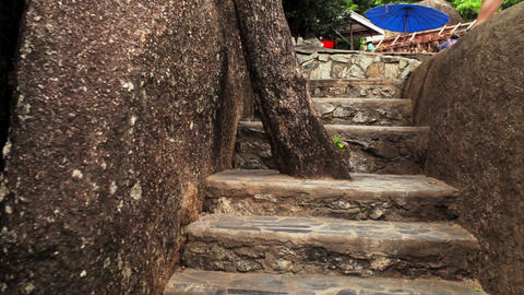 Old staircase in Thailand to a touristy Footage
