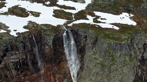 Aerial footage of picturesque tall waterfall in Norway, aerial footage Footage