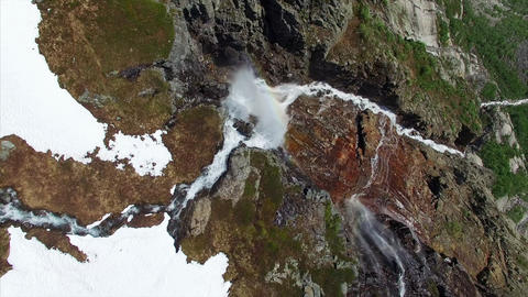 Aerial top-down footage of picturesque tall waterfall in Norway, aerial footage Footage