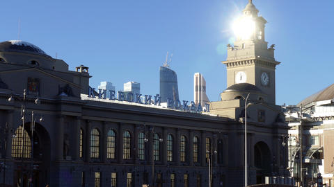 People Are Walking Along Building of Kiev Railway Station in Moscow Footage