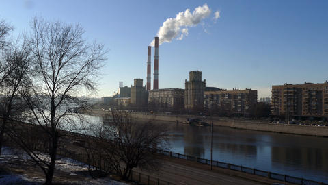 Moscow River in winter and pipes Footage