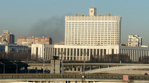 House of the Russian Government and the black smoke, 2015 Footage