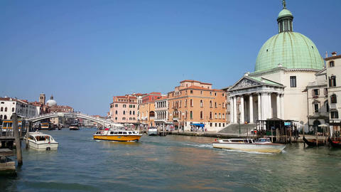 Boats at the Canal Grande, Venice Footage