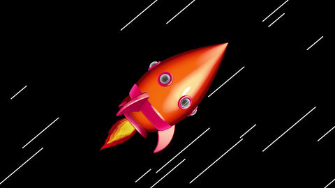 Cartoon Space Rocket Moving in The Space Animation