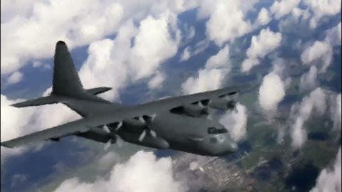 Propeller aircraft above the clouds. Picture to real. Imagination Footage