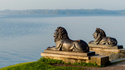 Lion Sculpture In Tutzing At Lake Starnberg stock footage