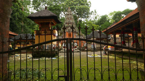 Closed split gate at Pura Dalem, move close and look through Footage