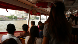 Travelling On Express Boat, Chao Phraya River Transport, View From Within Vessel stock footage