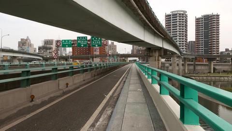 POV walk along pedestrian way on Zhongxiao Bridge, pedestrian way Footage