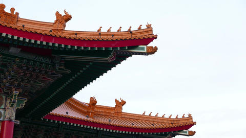 Traditional Chinese building roof corner, modern construction Footage