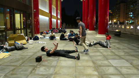 Young citizens train and practice in dance, gallery around National Theater Footage
