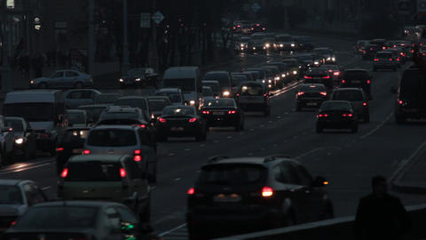 Ungraded: Heavy Traffic on Street in Evening Footage