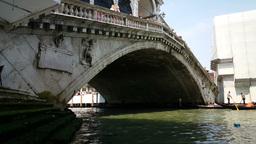 Gondolas under the Ponte Rialto, Venice Footage