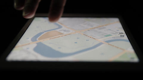 Ungraded: Vector Map On Tablet Computer stock footage