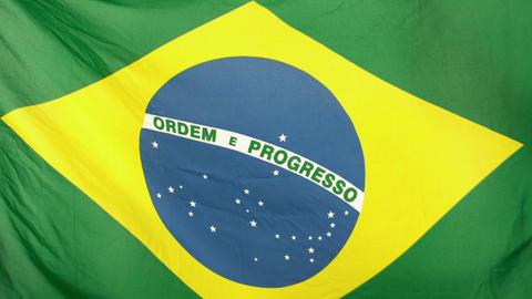 Brazilian flag blowing Footage
