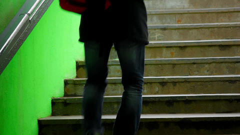 1080p Young Male on Dark Green Subway Staircase Footage