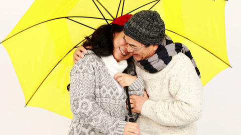 Mature Asian couple under an umbrella Live Action