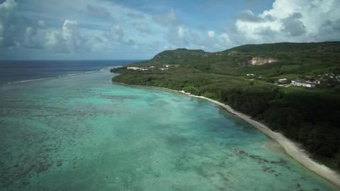 Aerial Shot : Tropical Island, Beach, Saipan Footage