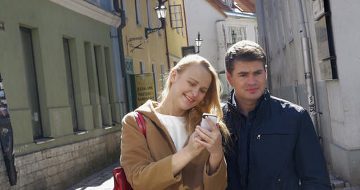 Couple Taking Selfie with Smartphone in Tallinn Footage