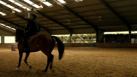 Man riding horse around paddock Footage