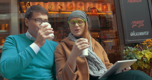 Young Friends Drinking Coffee-To-Go Outdoor Footage