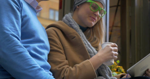 Smiling Adult Couple Sitting In Street Cafe Stock Video Footage