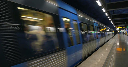 Train of Stockholm Metro Arriving to the Station Live Action