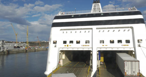Ferry With Open Door To Take Automobile Traffic Footage