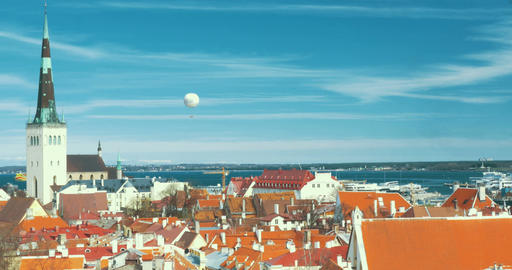 Panoramic View Of Old Tallinn Footage