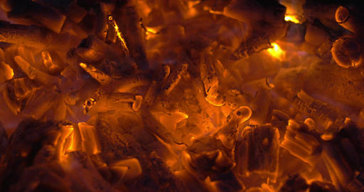 Wood embers in campfire or fireplace Footage