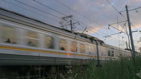 Commuter Train in Motion Footage