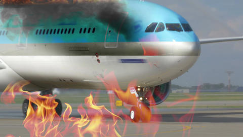 Engine fighting the airplane fire Footage