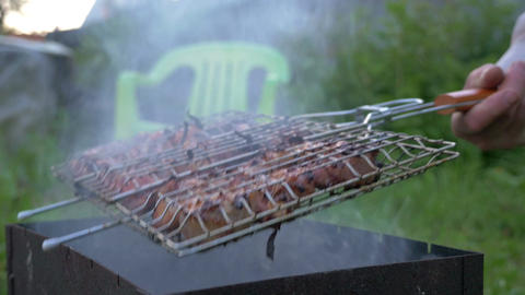 Cooking Barbeque Meat in Roaster Footage