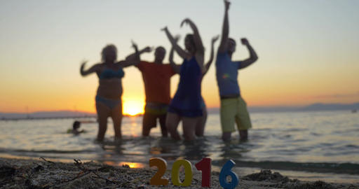 New Year and Christmas celebration at the seaside Footage