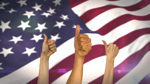 Thumbs up against american flag Animation