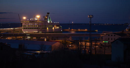 Night view of the port with cruise ships Footage