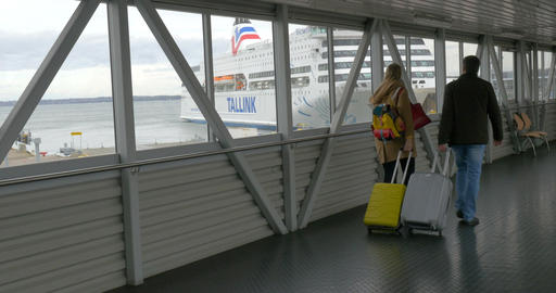 Tourists Walking Before Boarding the Ferry Footage