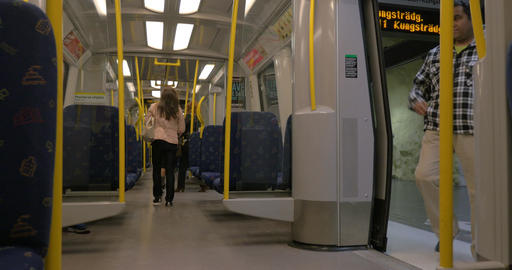 Passengers Getting on the Subway Train Footage