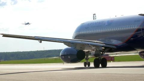 Moving Aeroflot Passenger Plane On Runway stock footage