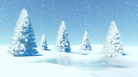 Simple winter landscape with firs at snowfall Stock Video Footage