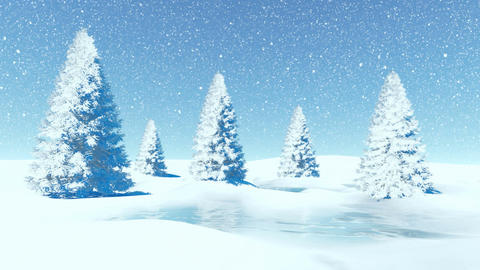 Simple winter landscape with firs at snowfall Animation