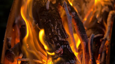 Blazing Campfire Coals In The Evening Footage
