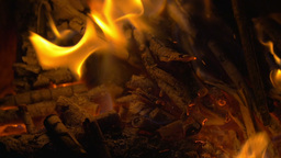 Wooden Sticks on Fire and Ash in the Fireplace Footage