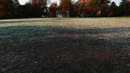 4K Abandoned Beach Football Handball Field in a Cold Autumn Day 1