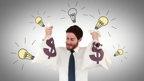 Composite video of businessman holding money bags Animation