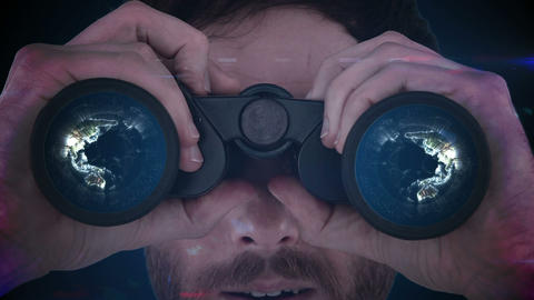 Man looking through binoculars Animation