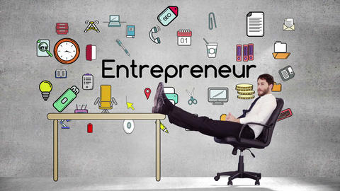 Smiling businessman relaxing himself Animation