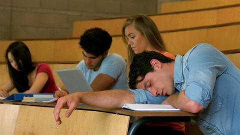 Student sleeping during lesson Footage