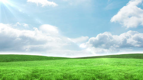 Blue sky over green field Animation